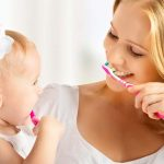infant brushing teeth